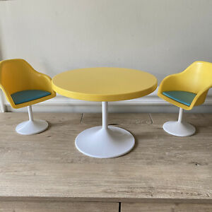 American Girl Julie's Yellow Mod Table and Chairs 3 Piece Set Retired