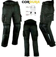 BLACK CARGO STYLE MENS VENTED CE ARMOUR MOTORBIKE / MOTORCYCLE TEXTILE TROUSERS