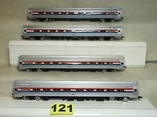 SET OF FOUR BACHMANN HO SCALE #72205 AMTRAK 8' BUDD FLEET PASSENGER COACHES