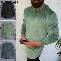 Hommes T-shirt à manches longues velours soie à col ras décontracté Streetwear