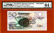 Seychelles 50 Rupees 1979 SPECIMEN A000000 Pick-25s Ch UNC PMG 64 EPQ