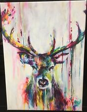 """Extra Large Colourful Stag wall art printed on canvas 20"""" x 30"""" solid frame"""
