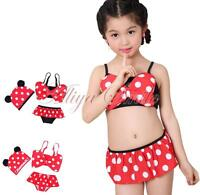 Baby Girls Kids Minnie Mouse Bikinis Set Swimwear Swimsuit Bathing Suit Swim Hat