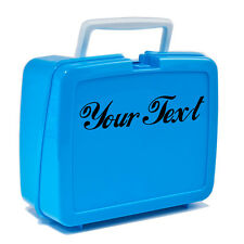 2X CUSTOM VINYL DECAL for lunch box, cooler, thermos. CHOOSE COLOUR & FONT