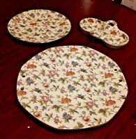 3 Pcs of Vintage MM Japan China Floral Design Serving Platter, Plate & Nut Diish