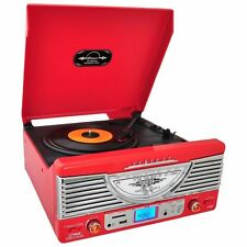 NEW Pyle PTR8UR 3 Speed Turntable W/ USB SD AM/FM iPod/MP3 Player & Vinyl-to-MP3