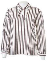 ANN TAYLOR FACTORY Striped Tie Neck Blouse