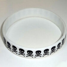 White Skull and Crossbones Rubber Silicone Wristband Bracelet Bangle Mens Ladies