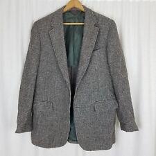 Vintage 50s Harris Tweed Houndstooth Sport Coat Jacket Blazer MCM Gray Mens M