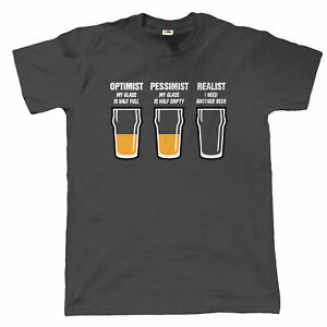 Realist Beer Glass Mens Funny T Shirt, Fathers Day Birthday Gift for Dad Grandad