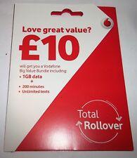 Vodafone UK Pay As You Go PAYG - Includes Standard, Micro & Nano Triple SIM Card