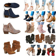 Women Low Mid Block Heel Ankle Boots Ladies Buckle Chunky Party Zip Shoes Size