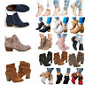 Ladies Womens Mid High Block Heels Buckle Casual Chunky Ankle Boots Shoes Size