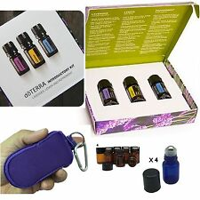 doTERRA Introductory Essential Oil Kit Keychain Travel bag W/ 4 Roller & 4 Vials