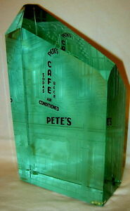 """Rare Vintage Reverse Etched Glass Art by Gene Scala - """"Pete's Place"""" - Signed"""