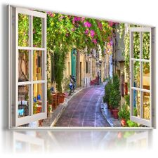 CITY GREECE BEAUTIFUL TOWN 3D Window View Canvas Wall Art Picture W421  MATAGA