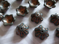 Czech Glass Bell Flower Beads 12mm X 11mm Bead Caps Grey Silk with Copper Wash