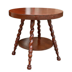 Antique Victorian Carved Mahogany Barley Twist Round Parlor Table