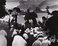 Henri Cueco Paysage aux moutons Original Vintage Annotée au dos 1972