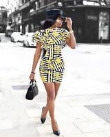 Women ruffled sleeves bodycon club party print casual mini dress
