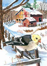 ACEO Limited Edition- Cold morning farm, Bird art print, Goldfinch
