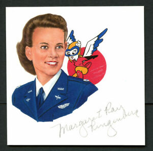 Margaret Ringenberg (d. 2008) AT-6 Texan 3.5x3.5 signed autograph cut from Litho