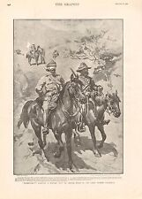 1900 ANTIQUE PRINT - BOER WAR- BLINDFOLDED-CARRYING MESSAGE OUTSIDE LADYSMITH