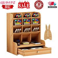 Wooden Desk Organizer, Multi-Functional DIY Pen Holder Box, Desktop Stationary