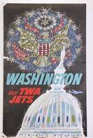 "ORIGINAL David Klein TWA Vintage WASHINGTON D.C. Air Travel Poster 25""x40"" 60's"