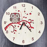 CUTE OWL Wall Clock Wall Art Silent Wooden Clock Unique kids room clock CL-0127