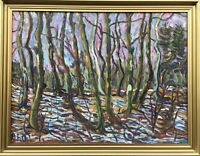 Expressionist P.E.O. Winterlandschaft Blick durch Bäume Ölgemälde Skandinavien