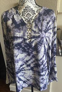 Rock & Republic Purple White tie dye long sleeve blouse XL pretty!