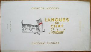 'Cat Tongues' 1920s French Chocolate Box Labels-Chocolat Suchard Langues de Chat