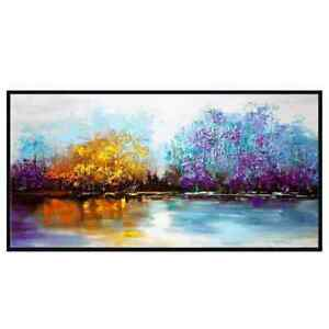 """LL003 Large Hand-painted abstract Scenery oil paintng on canvas Color Forest 48"""""""