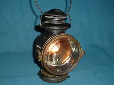 VINTAGE KEROSENE LAMP LANTERN CAR TRAIN  BEVELED CLEAR GLASS RED REAR LIGHT WOW!