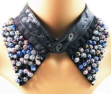 COLLAR NECKLACE handmade WOMEN LEATHER Button Rhinestone Crystal BLACK choker