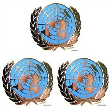 U.N UN United Nations  Peacekeeping Silver Plated Lapel Pin Lot Of 3