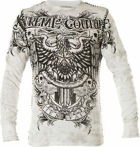 Xtreme Couture by AFFLICTION Men's THERMAL T-Shirt GRAS PATRON Biker