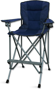 Camping Chair Folding Seat For Outdoor Bar Sports Make Up With Carrying Bag Blue