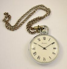 VINTAGE RAKETA USSR SOVIET POCKET WATCH  OPEN FACE with chain