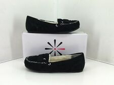 Isaac Mizrahi Moscow Black Suede Faux Fur Lined Moccasin Slippers. Size 7 W