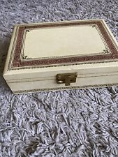 Vintage Mele Ivory/Pink Satin 2Tier Jewelry Case Made in USA