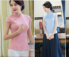Women Ladies Linen Blouses Chinese Style Qipao/Cheongsam Tops Size 6 - 12
