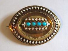 Antique Victorian 14K Yellow Gold White Enamel & Turquoise Brooch Pendant 5.9G