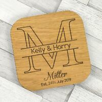 Personalised Mr & Mrs Initials Wedding Coasters Rustic Wooden Favour Placecards