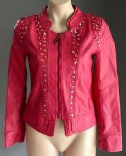 NWT Dusty Rose LIAN YI LONG Crystal Embellished PU Crop Jacket Size S/8