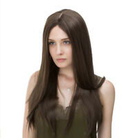 Lady Fashion Brown Long Wig Straight Hair Wigs Cosplay Party Costume Wedding