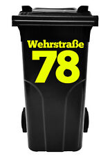 Hausnummer, Beschriftung,Aufkleber für Abfalltonne, Mülltonne,Num Müllbehälter s