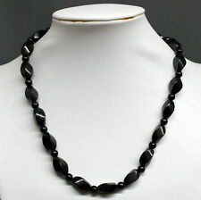 "17.7"" Swirl Beads Shungite Schungite Necklace Anti Radiation Karelia Russia"