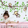 Jungle Monkey Tree Animals Wall Stickers Art Decal Baby Nursery Home Decor Kids
